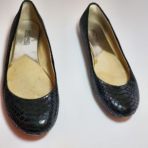 Michael Kors/Black Snake Skin Flats Shoes/ sz 8.5M